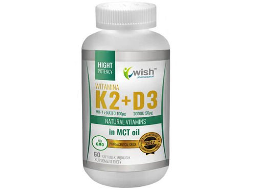 WISH Witamina K2 MK-7 100mcg + D3 2000IU 50mcg in MCT Oil 60 caps