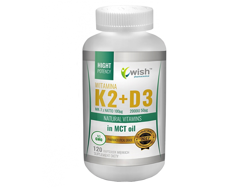 WISH Vitamin K2 MK-7 100mcg + D3 2000IU 50mcg in MCT Oil 120 caps