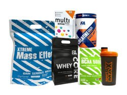 FITNESS AUTHORITY Xtreme Mass Effect 5000g + FITNESS AUTHORITY Xtreme BCAA 5000 800 g + FITNESS AUTHORITY Whey Core 2270 g + FITNESS AUTHORITY Multi Active Formula 60 tab + FITNESS AUTHORITY XTREME Creatine 500 g + SPORT-MAX Shaker 700ml