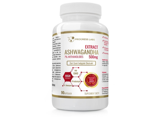 PROGRESS LABS Ashwagandha Extract 500mg 7% Witanolidów 90 kaps