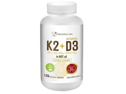 PROGRESS LABS Witamina K2 MK-7 100mcg + D3 2000IU 50mcg in MCT Oil 120 kaps