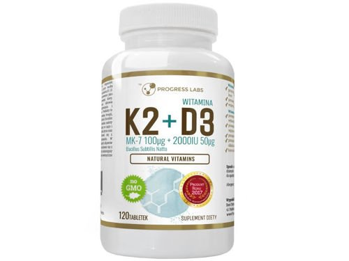PROGRESS LABS Witamina K2 MK-7 100mcg + D3 50 mcg 2000IU 120 tab