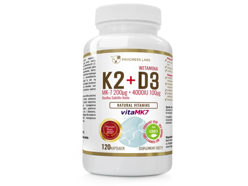 PROGRESS LABS Witamina K2 vitaMK7 200mcg + D3 100mcg 4000IU 120 kaps