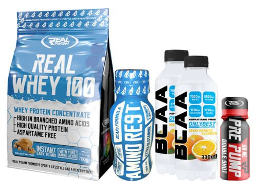 REAL PHARM Real Whey 700 g + 2x BCAA Drink 330ml + Pre Pump shot + Amino Rest shot